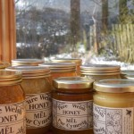 Jars of honey ready for sale